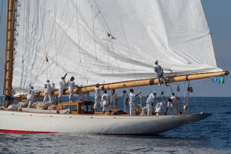 Imperia, Italy - September 7, 2018: Crew members aboard on sailboat during racing at the Paneray Classic Yachts Challenge, regatta on the Imperia