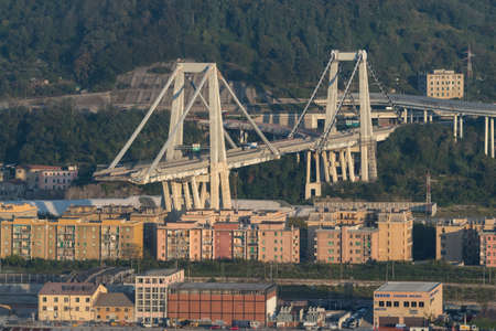 Genoa, Italy - October 12, 2018: On August 14, Morandi Bridge in Genoa, collapsed, sending vehicles and tons of rubble to the ground and killing 43 people. Preliminary investigation points to a combination of poor design, questionable building practices a