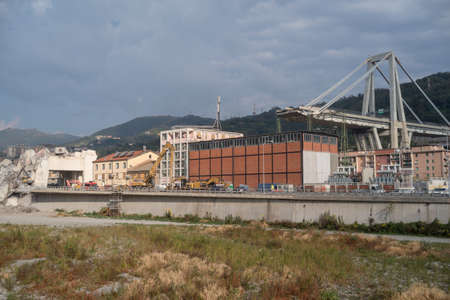 Genoa, Italy - October 9, 2018: On August 14, Morandi Bridge in Genoa, collapsed, sending vehicles and tons of rubble to the ground and killing 43 people. Preliminary investigation points to a combination of poor design, questionable building practices an