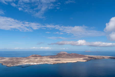 Graciosa volcanic island in the Canary Islands, Spain. Panoramic view from Mirador del Rio, Lanzarote