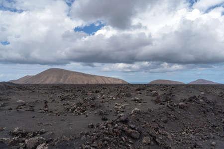 Rocky volcanic landscape, Lanzarote, Canary Islands, Spain Stock Photo