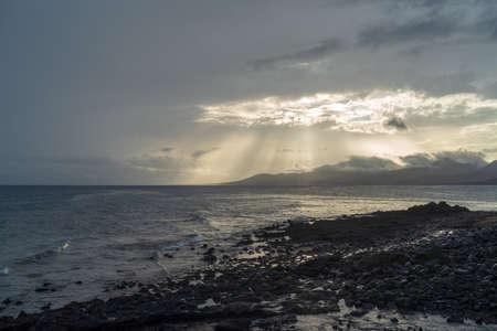 Volcanic coastline landscape, Lanzarote, Canary islands, Spain