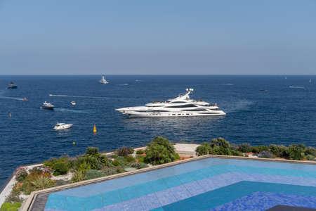 Cruise ship docked at Port Hercules, Monaco Standard-Bild - 119192943