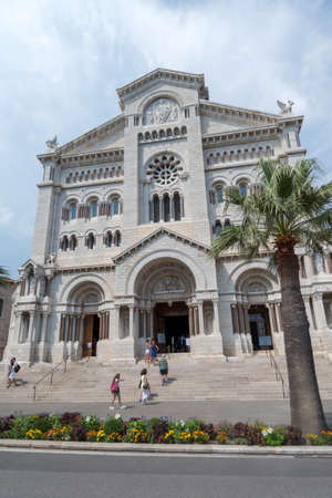 Monaco, Monaco-Ville - August 5, 2018: Facade of the Monaco Cathedral of Our Lady Immaculate