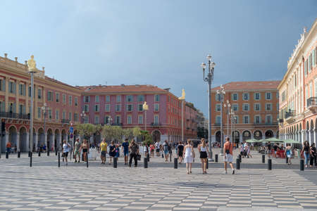 Nice, France - July 26, 2018: Place Massena, landmark of the town. A pedestrian-only square, is surrounded by hotels, shops and restaurants