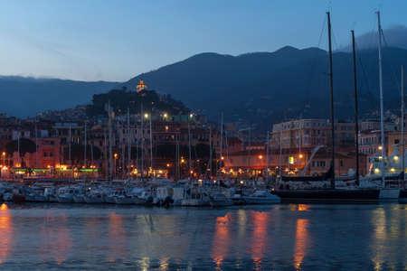 Sanremo by night. Liguria region, Italy Banco de Imagens