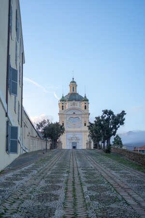 View of Madonna della Costa Sanctuary San Remo, Italy Banco de Imagens