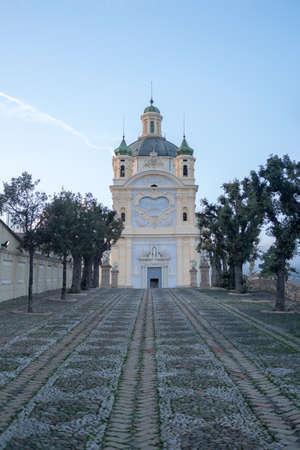 View of Madonna della Costa Sanctuary San Remo, Italy 写真素材