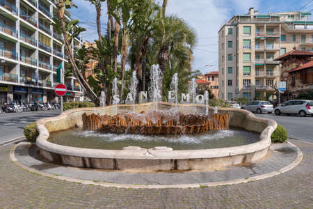 Sanremo, Italy - March 13, 2019: San Remo welcome sign public fountain