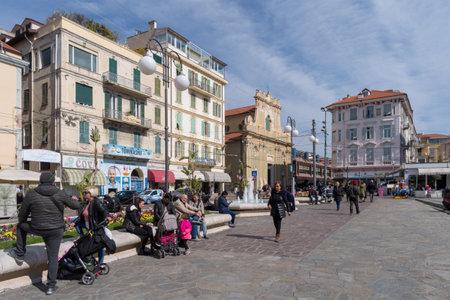 Sanremo, Italy - March 13, 2019: Colombo square in Sanremo, seaside city on the Italian Riviera Editorial