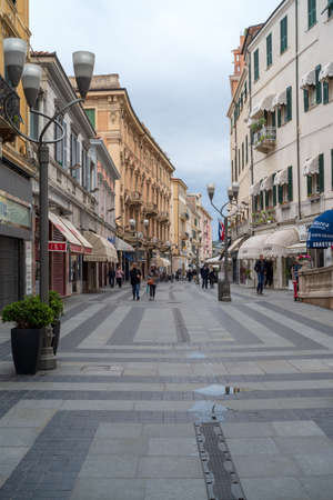 Sanremo, Italy - April 9, 2018: Pedestrian main street G.Matteotti in the old town of Sanremo, seaside city on the Italian Riviera Editorial