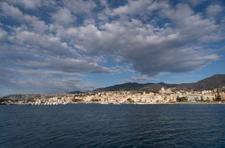 Sanremo view from the sea, Liguria region, Italy 免版税图像