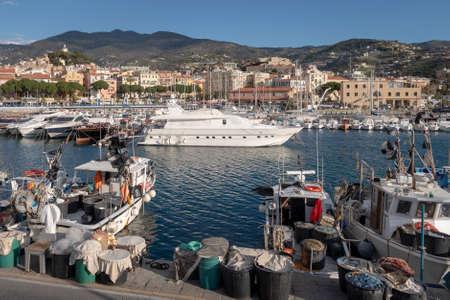 Sanremo view from the sea, Liguria region, Italy Banco de Imagens