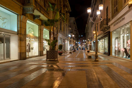 Sanremo, Italy - March 19, 2019: Pedestrian main street G.Matteotti in the old town of Sanremo, seaside city on the Italian Riviera