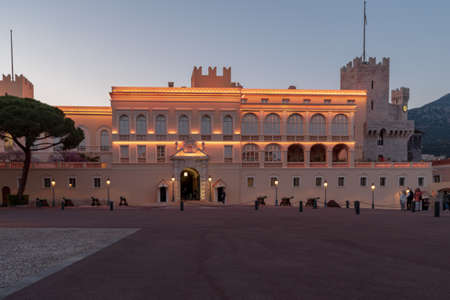 Monaco-Ville, Monaco - March 29, 2019: Evening view of the Princes Palace - is the official residence of the Prince of Monaco