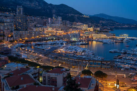 Principality of Monaco panoramic view in the night