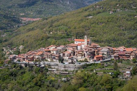 The village of La Bollene Vesubie seen from the north side of the Col de Turini, Maritime Alps, France