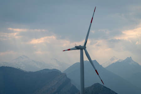 Wind turbine in mountains, Alps, Italy, Piedmont