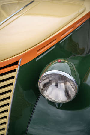 Imperia, Italy - May 19, 2019: Close up detail of FIAT 1100E parked in a street in Imperia during raid of vintage cars