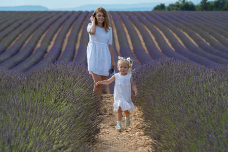 Valensole, France. Mother with daughter in lavender field