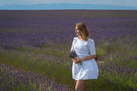 Woman posing in lavender field, Provence, Valensole, France Foto de archivo