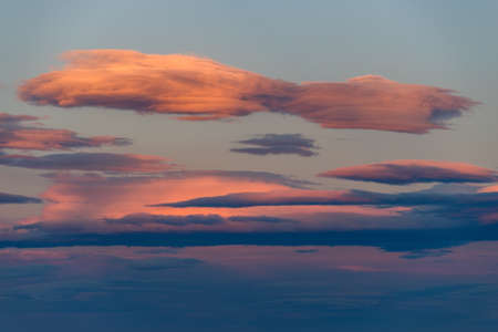 Stratocumulus stratiformis clouds at evening twilight Stock Photo