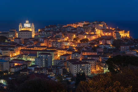 Imperia old town by night. Liguria region, Italy