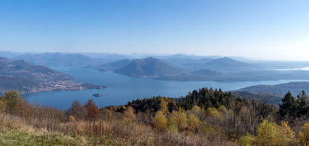 View of Maggiore lake, from the top of Mottarone mountain, near the town of Stresa in Western Alps, Piedmont region, Italy