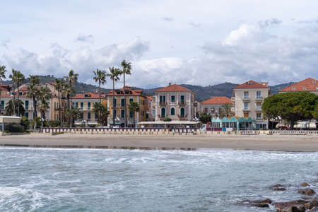 Seafront at the tourist resort town Diano Marina. The Gulf of Diano, Province of Imperia, Liguria region, Italy