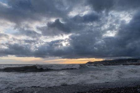 Clouds over the Ligurian sea in wintertime, Imperia, Liguria, Italy Stock fotó