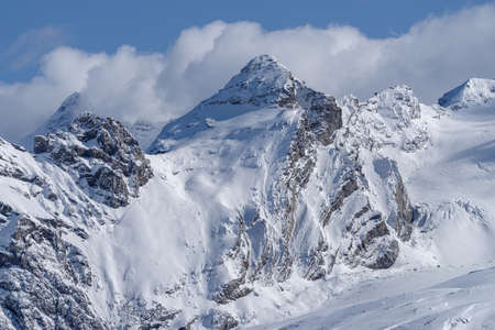 Panorama of the Ortler Group in the Italian Alps 版權商用圖片