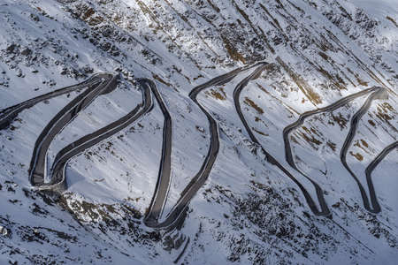 Winding road at the top of the Stelvio pass, South Tyrol, Italy