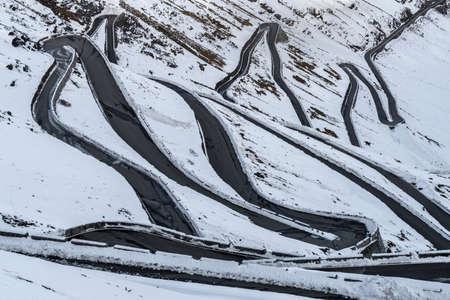 Mountain road curve, Stelvio pass, South Tyrol, Italy