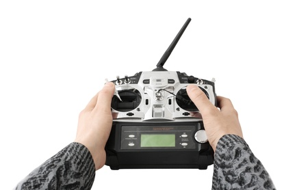 remote controlled: Hand hold remote controle system Stock Photo