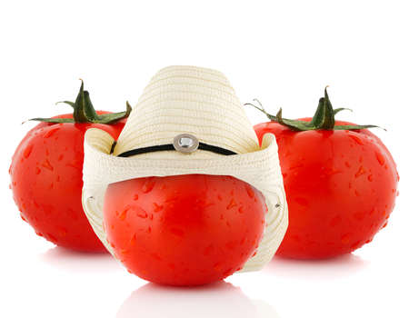 tomato dress a hat, isolated on white Stock Photo - 9672039