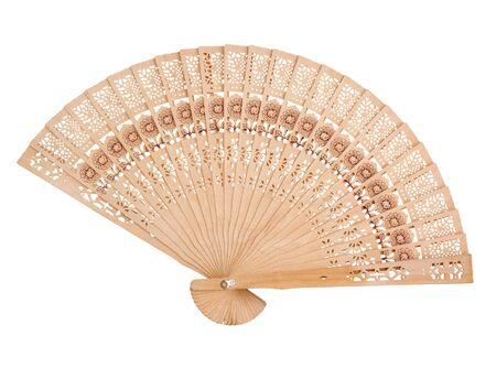 Wooden hand fan, isolated onwhite photo