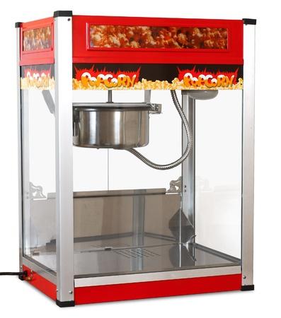 Red popcorn machine isolated on white Archivio Fotografico
