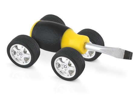 concetto di servizio tecnico, cacciavite su ruote auto