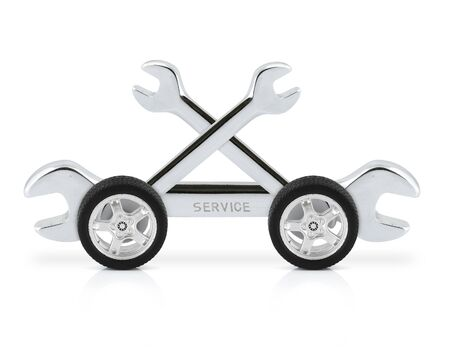 technical service concept, wrench on car wheels Stock Photo