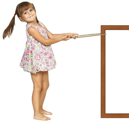 Child girl pulling frame, isolated on white Stock Photo
