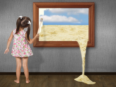 little girl beach: Little girl drawing picture, creative concept Stock Photo