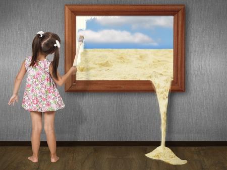 Meisje tekeningsbeeld, creatief concept Stockfoto