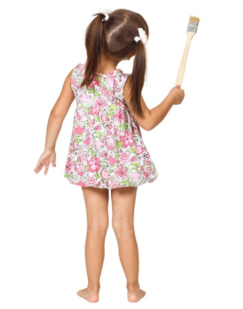 little girl with paintbrush, back view Stock Photo - 10429577