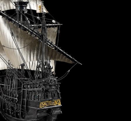Santa Maria modello di nave sul nero, raccolto Archivio Fotografico