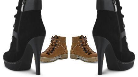 dominacion: hombres y mujeres los zapatos concepto Foto de archivo