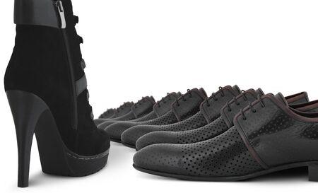 dominacion: varón y hembra los zapatos de conceptos sobre blanco