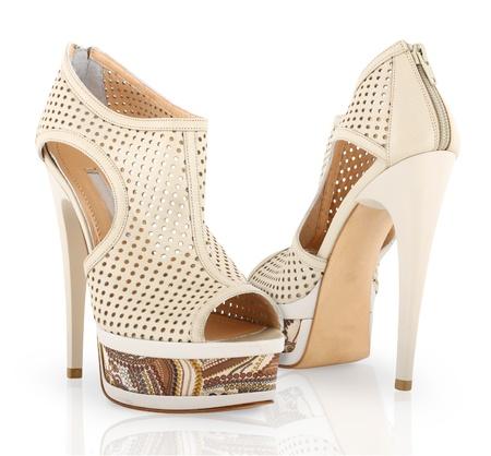 Hoge hak Vrouw schoenen geïsoleerd op witte achtergrond Stockfoto