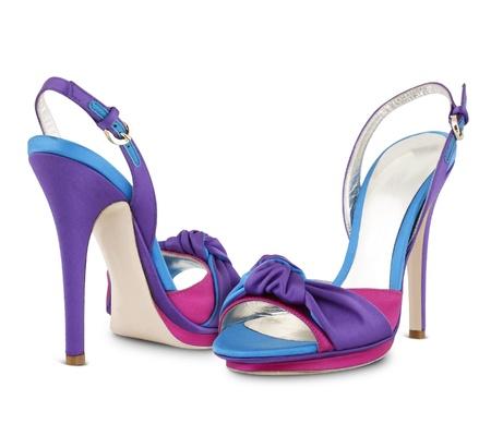 kleurrijke vrouwen schoenen geà ¯ soleerd op witte achtergrond