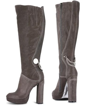 jackboots: Autumn high heel female boots isolated on white