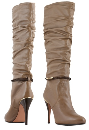 boots: woman high heels jackboots isolated on white